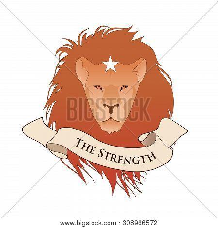 Major Arcana Emblem Tarot Card. The Strength. Lion Head Whith Star, Isolated On White Background