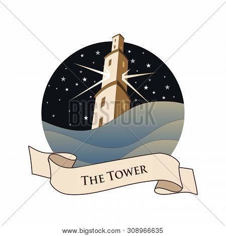 Major Arcana Emblem Tarot Card. The Tower. Large Tower Over Raging Sea, Over A Starry Night Sky, Iso