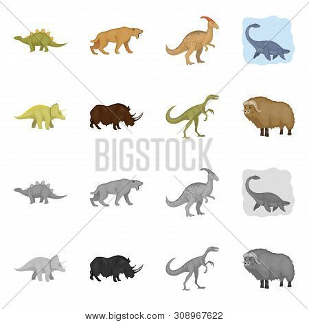 Vector Design Of Animal And Character Logo. Set Of Animal And Ancient Stock Vector Illustration.
