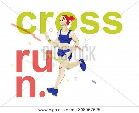 Sports Running. Running Girl In Green Uniform. Sports Girl Drawing Illustration On The Theme Of Spor
