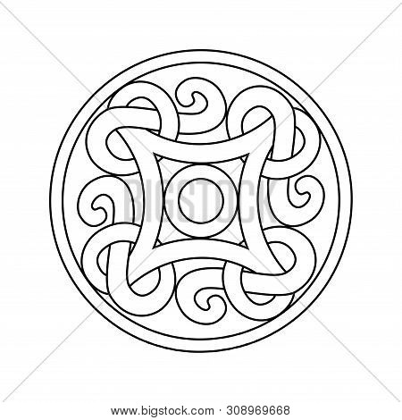 Ancient Viking Ornament In A Graphic Style. Coloring Illu