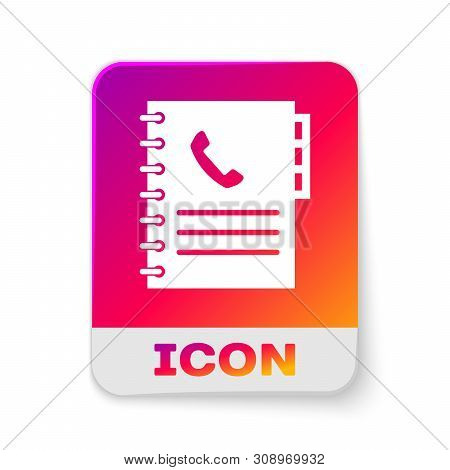 White Phone book icon isolated on white background. Address book. Telephone directory. Rectangle color button. Vector Illustration poster