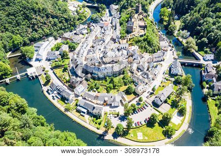 Aerial View Of Esch-sur-sure, Medieval Town In Luxembourg, Dominated By Castle, Canton Wiltz In Diek