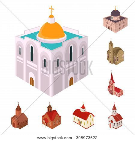 Isolated Object Of Architecture And Building Icon. Collection Of Architecture And Clergy Stock Symbo