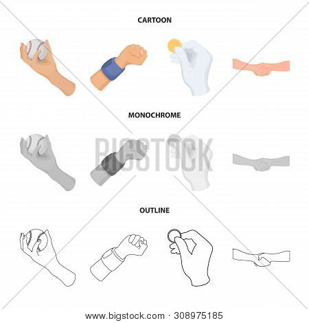 Vector Illustration Of Animated And Thumb Symbol. Collection Of Animated And Gesture Stock Symbol Fo