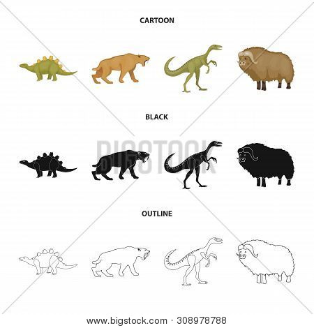 Vector Illustration Of Animal And Character Symbol. Collection Of Animal And Ancient Vector Icon For