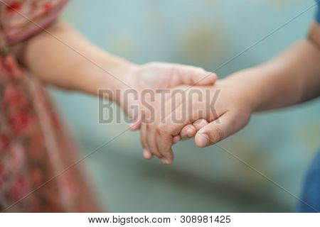 Kid Holding Hand Asian Senior Or Elderly Old Lady Woman Patient With Love, Care, Helping, Encourage