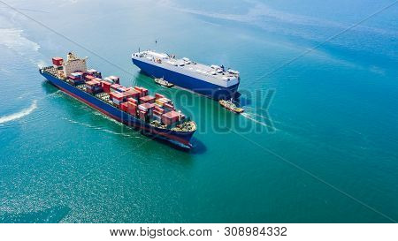 Business Luxury Ship Loading Cars And Shipping Cargo Containers Logistics Export Import Service Open