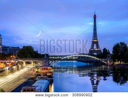 View Of The Eiffel Tower And Seine River At Sunrise, Paris
