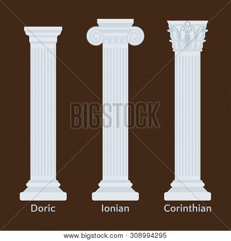 Ancient Greek Columns Flat Icons. Types Of Doric, Ionian, Corinthian Vector Illustration