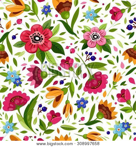 Vector Seamless Flower Pattern. Cute Floral Pattern With Colorful Flowers, Berry, Leaves. White Back