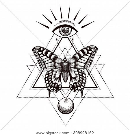 Sacral Butterfly Tattoo And T-shirt Design. Butterfly In Triangle At Top Is All-seeing Eye Of Horus