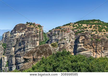 View Of Monastery Of Varlaam And Great Meteoron On Rocks In Meteora, Greece