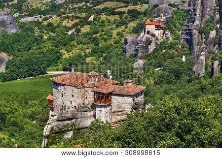 Landscape With Rousanou And Nikolaos Monasteries In Meteora, Greece