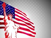 American flag and statue of liberty on dotted grey background for American Independence Day and other events. Vector illustration. eps 10. poster