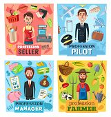 Farmer, seller, pilot and manager professions vector design with businessman or financial advisor, cashier, airman and farm worker. Retail, business, transportation, agriculture industry occupations poster