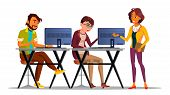 Character Supervisor Control Work Employees . Smiling Woman Supervisor Communication, Monitoring And Assisting Colleagues Programmers. Office Workplace Flat Cartoon Illustration poster