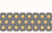 Bold hand drawn star circles quilt. Vector pattern seamless background. Symmetry geometric celtic knot illustration. Trendy retro 1960s style home decor, arabic fashion print, black yellow wallpaper poster