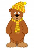 Toy Teddy bear in cap and scarf. Vector poster