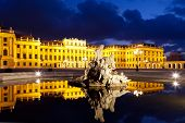 Vienna by night Schonbrunn Palace historic building and landmark at dusk poster
