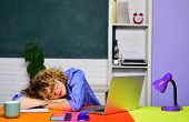 Tired teacher sleeping in classroom. Hard work. School job. Teacher preparing for university exams. Education concept. World teachers day. Back to school. Knowledge and educational school concept. poster