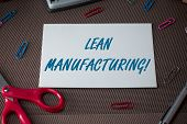 Text sign showing Lean Manufacturing. Conceptual photo Waste Minimization without sacrificing productivity Scissors and writing equipments plus plain sheet above textured backdrop. poster