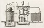 Industrial cooling apparatus old schematic illustration. Created by Bourdelin, published on L'Illustration, Journal Universel, Paris, 1863 poster