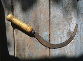 Old agricultural sickle on a wooden blue plank tabletop poster
