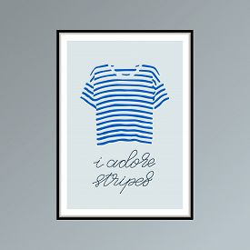 Hand Drawn Poster With Blue Striped T-shirt And Handlettered Phrase I Adore Stripes