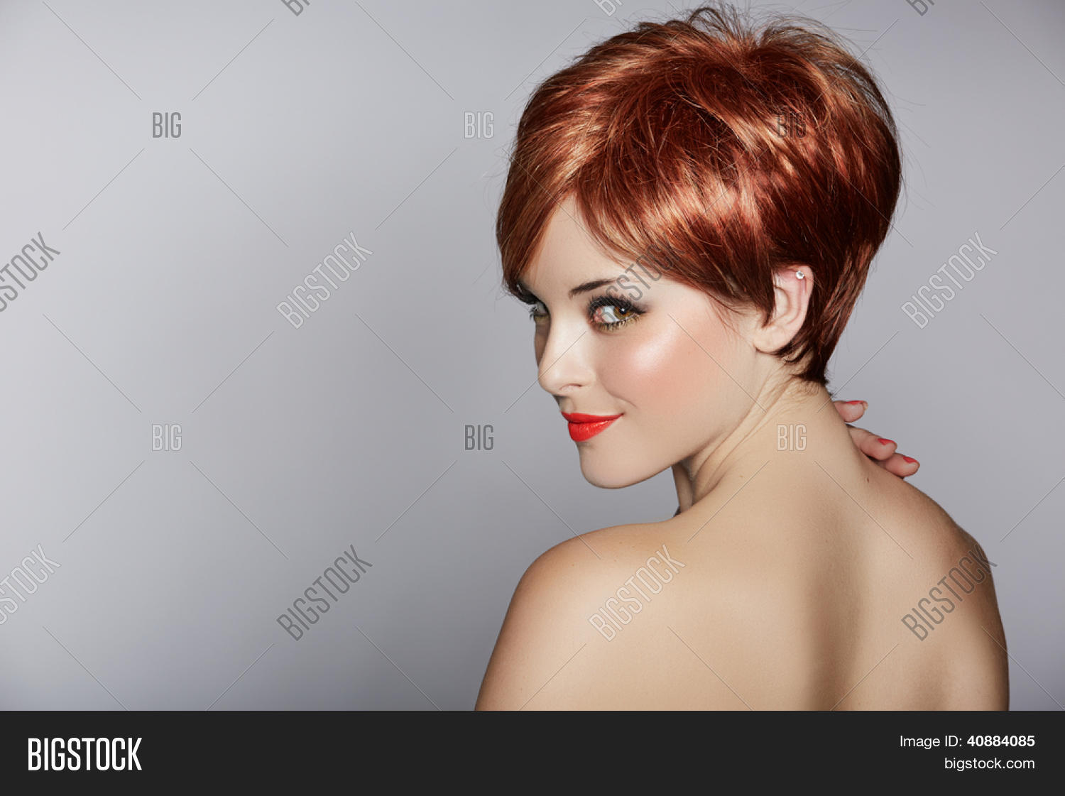 Hair Styles For Short Red Hair: Beautiful Young Woman Image & Photo (Free Trial)
