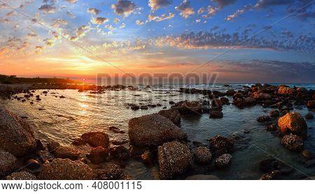 Sunset View From Stony Beach. Summer Coastline (greece, Zakynthos, Alykes, Ionian Sea).