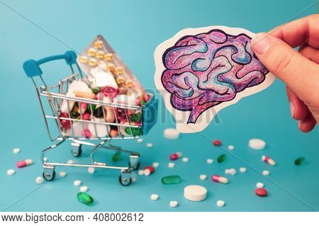 Treatment And Prevention Brain Diseases With Variety Of Pills: Antibiotics, Vitamins, Painkillers, A