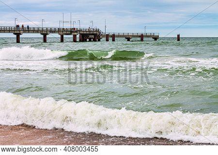Pier On The Baltic Sea Coast In Goehren On The Island Ruegen, Germany.