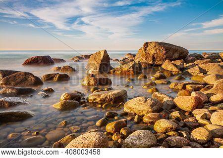 Stones On The Baltic Sea Coast On The Island Ruegen, Germany.