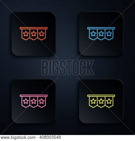 Color Neon Line Carnival Garland With Flags Icon Isolated On Black Background. Party Pennants For Bi