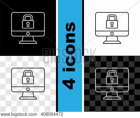 Set Line Lock On Computer Monitor Screen Icon Isolated On Black And White, Transparent Background. S