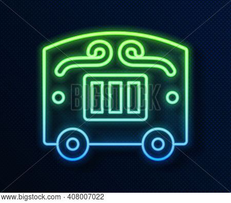 Glowing Neon Line Circus Wagon Icon Isolated On Blue Background. Circus Trailer, Wagon Wheel. Vector