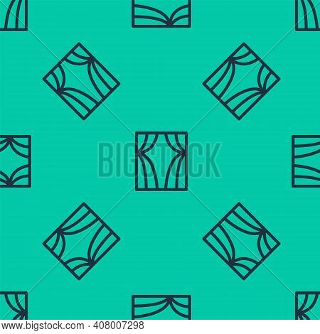 Blue Line Circus Curtain Raises Icon Isolated Seamless Pattern On Green Background. For Theater Or O