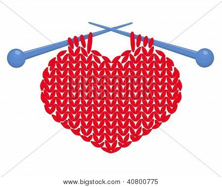 Knitted heart isolated