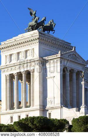 Victor Emmanuel Ii Monument (monumento Nazionale A Vittorio Emanuele Ii) On Venetian Square. The Qua