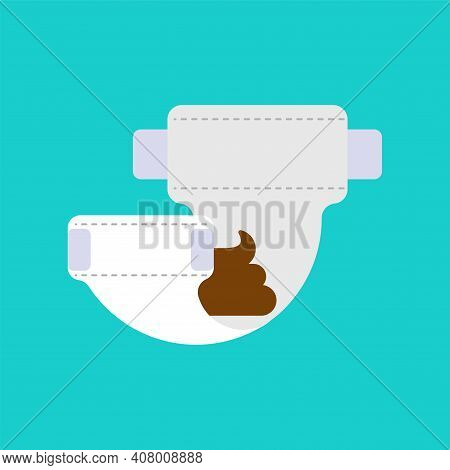 Dirty Diaper Isolated. Baby Nappy. Infant Underpants Vector Illustration