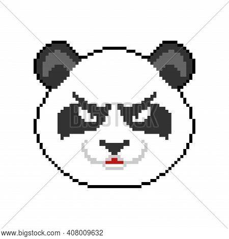 Angry Panda Pixel Art. 8 Bit Panda Head. Vector Illustration