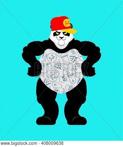 Panda Gangster And Bandit. Cool Bear. Swag Gangsta. Animal Guy Rapper