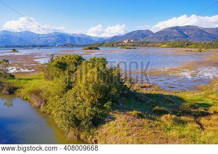 Beautiful Wetland Landscape. Montenegro, Tivat. View Of Tivat Salina  ( Tivatska Solila ) On Sunny S