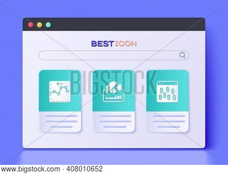 Set Stocks Market Growth Graphs, Browser With And Bitcoin In Browser Icon. Vector