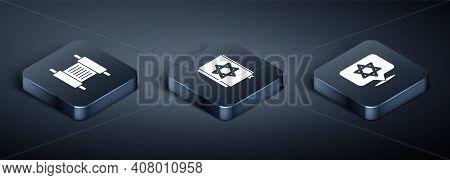 Set Isometric Torah Scroll, Star Of David And Jewish Torah Book Icon. Vector