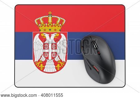 Computer Mouse And Mouse Pad With Serbian Flag, 3d Rendering Isolated On White Background