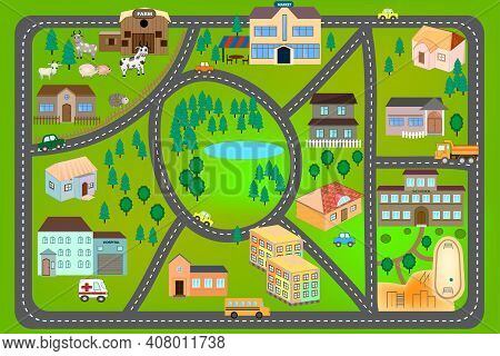 Cartoon Map With Farm, Roads, Cars And Houses. City Map For Children With Maze. Play Mat. Vector Fun