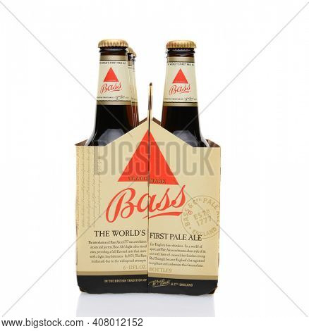 IRVINE, CA - MAY 25, 2014: A 6 pack of Bass Ale, end view. The Bass Brewery was founded in 1777 by William Bass, in Trent, England is now owned by Anheuser-Busch InBev.