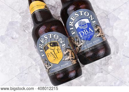 IRVINE, CALIFORNIA - AUGUST 26, 2016: Firestone Ales on Ice.f Firestone Walker is Californias fourth largest craft brewery and is known for producing hoppy ales.